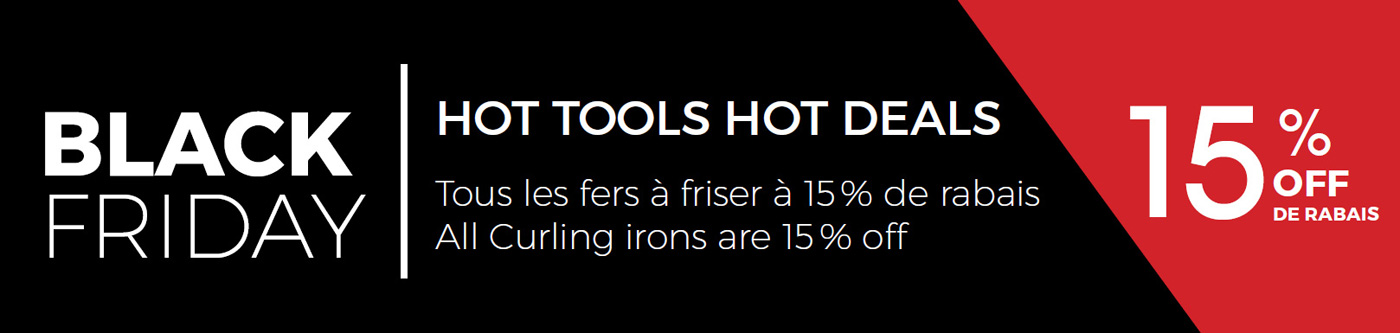 Black Friday promotion: hot tools, hot deals. Curling irons 15% discount.